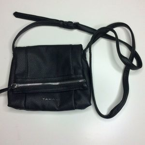 Tahari Black Pebbled Faux Leather Crossbody Bag